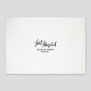Just Married custom wedding 5'x7'Area Rug