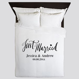 Just Married custom wedding Queen Duvet