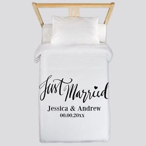 Just Married Custom Wedding Twin Duvet For Couples