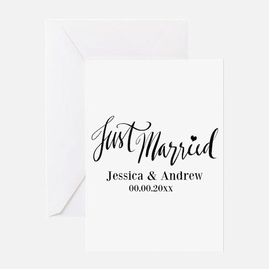 Just Married custom wedding Greeting Cards