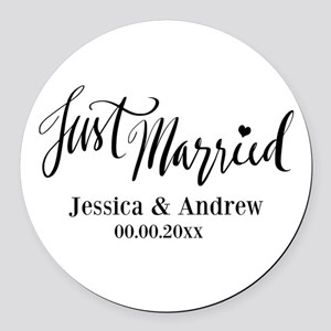 Just Married custom wedding Round Car Magnet