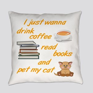 Coffee Books Cats Everyday Pillow
