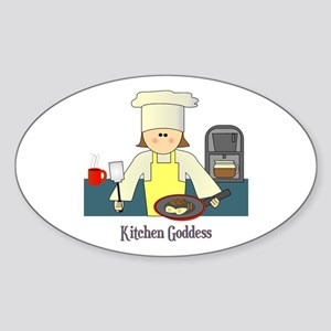 Kitchen Goddess Oval Sticker