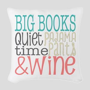 Big Books Pajama Quiet Wine 4 Woven Throw Pillow