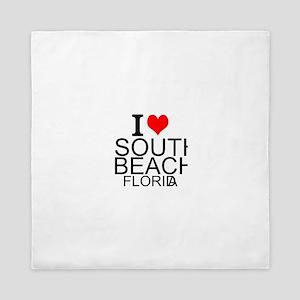 I Love South Beach, Florida Queen Duvet