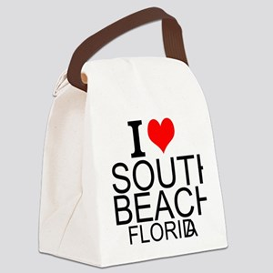 I Love South Beach, Florida Canvas Lunch Bag