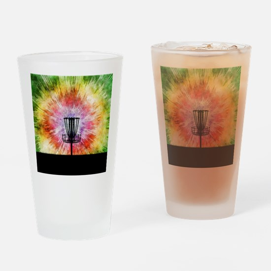 Tie Dye Disc Golf Basket Drinking Glass