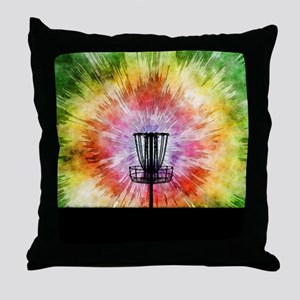 Tie Dye Disc Golf Basket Throw Pillow