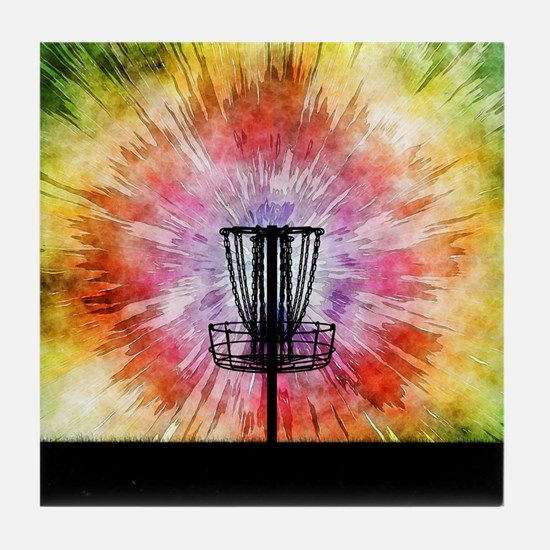 Tie Dye Disc Golf Basket Tile Coaster