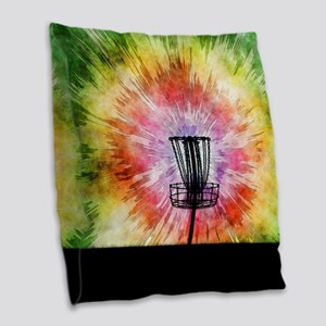 Tie Dye Disc Golf Basket Burlap Throw Pillow