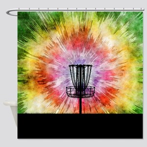 Tie Dye Disc Golf Basket Shower Curtain