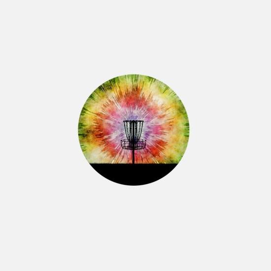 Tie Dye Disc Golf Basket Mini Button