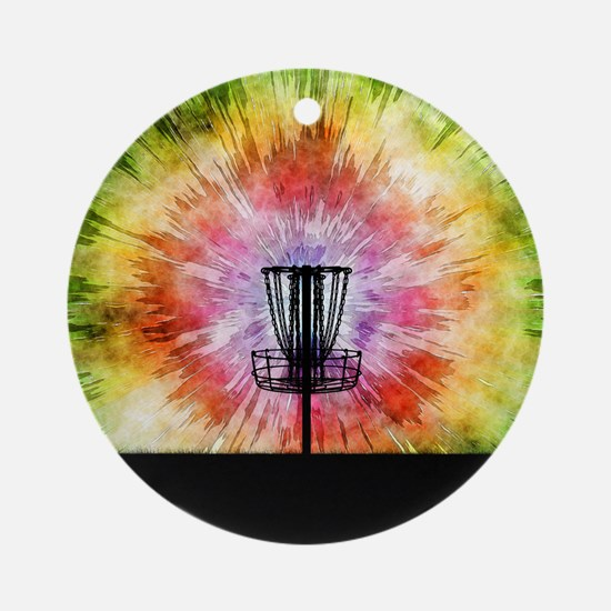 Tie Dye Disc Golf Basket Round Ornament