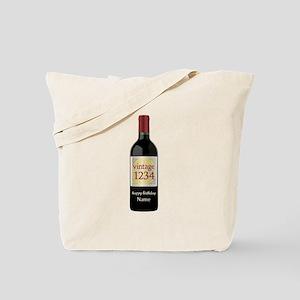 Custom Year and Name Wine Tote Bag