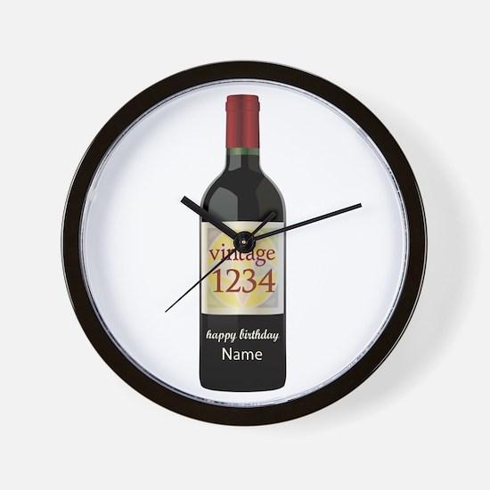 Custom Year and Name Wine Wall Clock