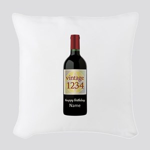 Custom Year and Name Wine Woven Throw Pillow