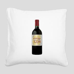 Custom Vintage Wine Square Canvas Pillow