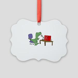T-rex Dinosaur on Ham Radio Picture Ornament