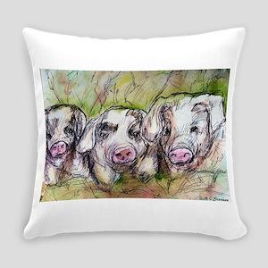 Piglets, Animal art! Everyday Pillow