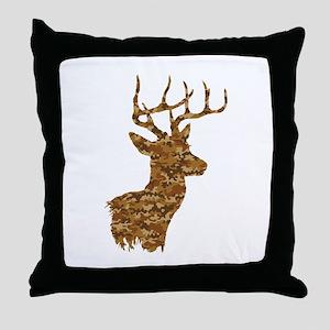 Brown Camo Deer Throw Pillow