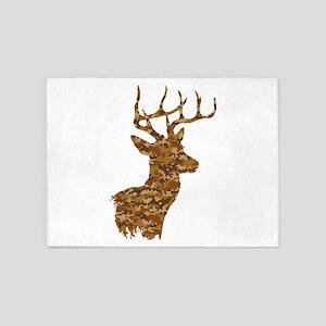 Brown Camo Deer 5'x7'Area Rug