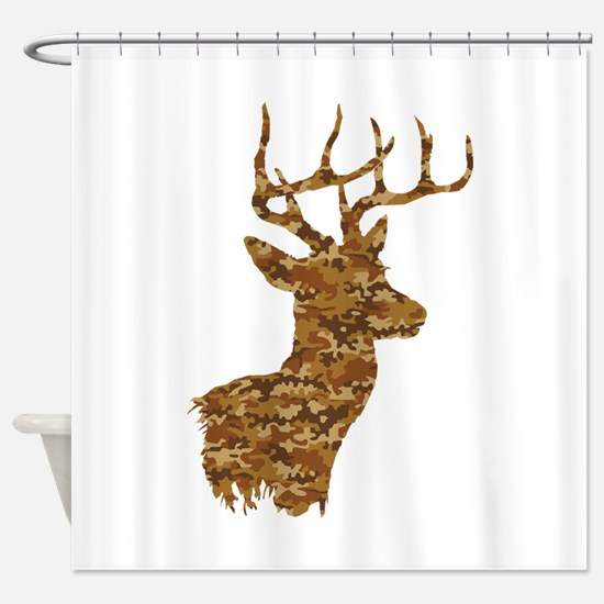Brown Camo Deer Shower Curtain