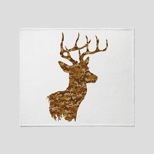 Brown Camo Deer Throw Blanket