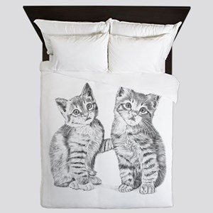 Tabby kittens Queen Duvet