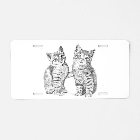 Tabby kittens Aluminum License Plate