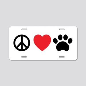 Peace Love Paw Aluminum License Plate