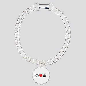 Peace Love Paw Charm Bracelet, One Charm