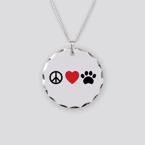 Peace Love Paw Necklace Circle Charm