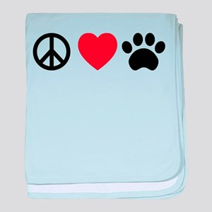Peace Love Paw baby blanket