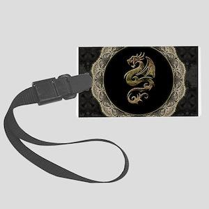 Wonderful dragon, vintage background Luggage Tag