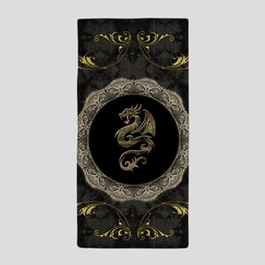 Wonderful dragon, vintage background Beach Towel