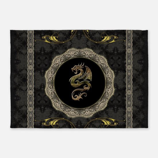 Wonderful dragon, vintage background 5'x7'Area Rug