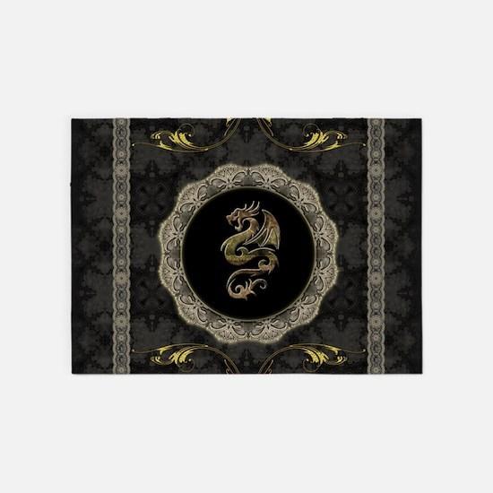 Wonderful Dragon Vintage Background 5 X7 Area Rug