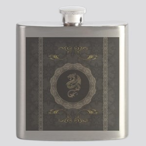 Wonderful dragon, vintage background Flask