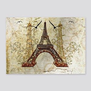The eiffel tower, birds and vintage background 5'x