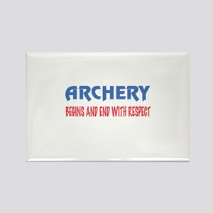 Archery Begins and end with respe Rectangle Magnet