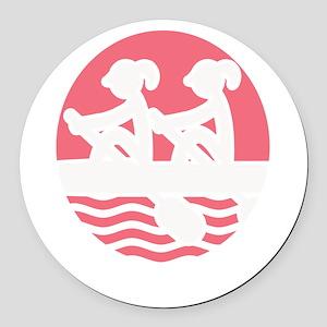 Rowing Girlz Round Car Magnet