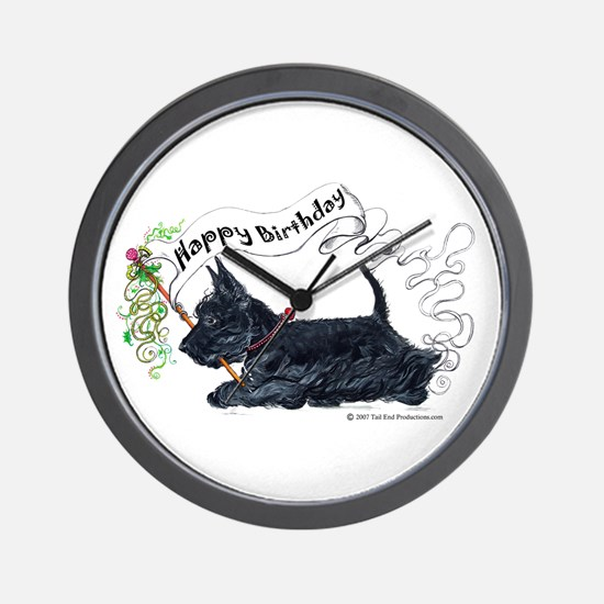 Scottish Terrier Birthday Dog Wall Clock