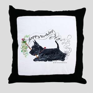 Scottish Terrier Birthday Dog Throw Pillow