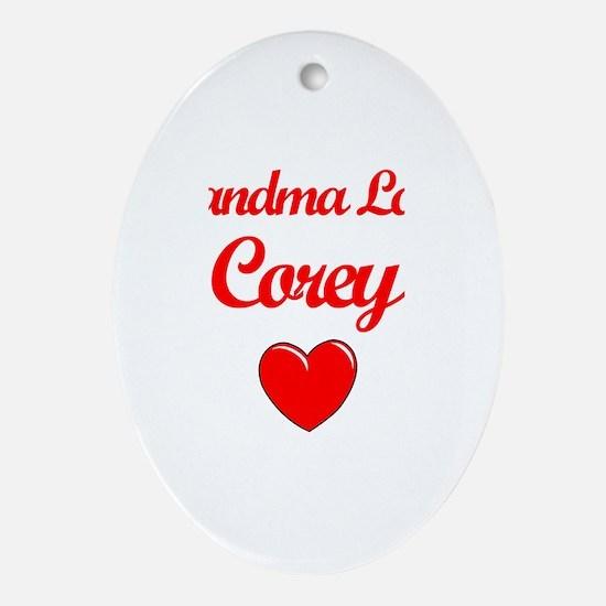 Grandma Loves Corey Oval Ornament