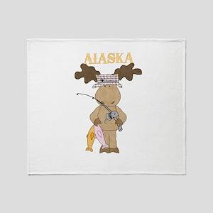 Alaska Moose Going Fishing Throw Blanket