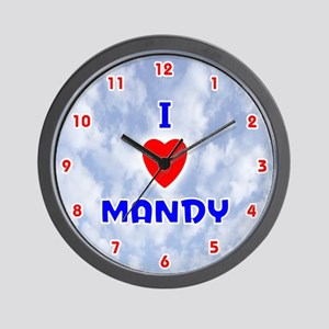 I Love Mandy (Red/Bl) Valentine Wall Clock