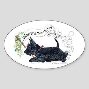 Scottish Terrier Birthday Dog Oval Sticker
