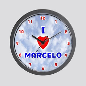 I Love Marcelo (Red/Bl) Valentine Wall Clock