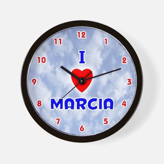 I Love Marcia (Red/Bl) Valentine Wall Clock
