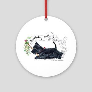 Scottie Girl Birthday Ornament (Round)